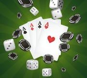 Kasinothema zwei Asse auf schwarzem Hintergrund spielender Poker 3d Lizenzfreies Stockfoto