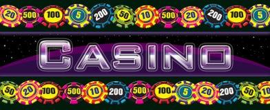 Kasinozeichen mit Chips Stockfotos