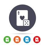 Kasinozeichenikone Spielkarte mit Würfelsymbol Stockfoto