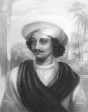 Kasiprasad Ghosh. (1809-1873) on engraving from the 1800s. Indian Poet. Engraved by J.Cochran after a painting from J.Drummond and published in London by Fisher Royalty Free Stock Photo