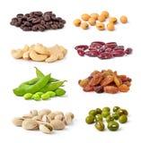 Kasjuer haricot vert, sojabönabönor, kaffebönor, pistascher, njurebönor, russin Arkivbilder