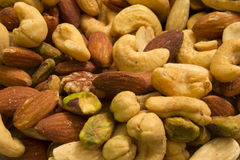 Kasjuer, mandlar, pistascher och pecannötter Royaltyfri Bild