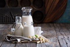 Kasjustrikt vegetarian mjölkar royaltyfria bilder