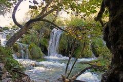 Kaskad i Plitvice nationalparkKroatien royaltyfria bilder