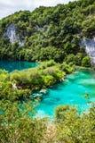 Kaskad sjöar och vattenfall mellan vaggar i skogen Plitvice, nationalparken, Kroatien royaltyfri bild