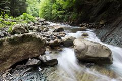 Kaskada spada nad starą śliwkową rzeką z skałami w lesie obraz stock