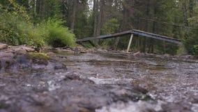 Kaskada spadki, szybka bieżąca siklawa Rzeka płynie pod drewnianym mostem, w przedpole obraz royalty free