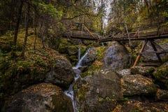 Kaskaden über moosige Felsen mit Holzbrücke über dem Wasserfall im bunten Herbstwald stockfoto