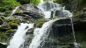 Kaskadenwasserfallspritzen auf Steinen im Wald unter Bergen Langsame Bewegung stock video footage