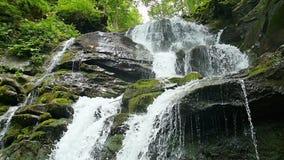 Kaskadenwasserfallspritzen auf Steinen im Wald unter Bergen Langsame Bewegung stock footage