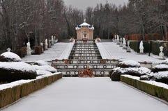 Kaskadowa fontanna przy losu angeles Granja De San Ildefonso pałac, Hiszpania Zdjęcie Royalty Free