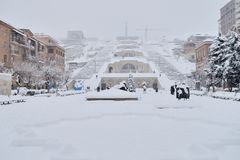 Kaskadowa schody zimy scena, Yerevan, Armenia Zdjęcia Stock