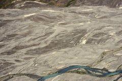 Kaskawulsh flodbädd i den Kluane nationalparken, Yukon Arkivfoto