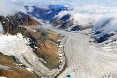 Kaskawulsh Glacier and Mountains, Kluane National Park, Yukon 05. Aerial view of the Kaskawulsh Glacier flowing among St. Elias mountains in Kluane National Park Royalty Free Stock Image