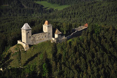 Kasperk castle - air photo Royalty Free Stock Images