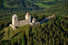 Kasperk castle - air photo Stock Photos