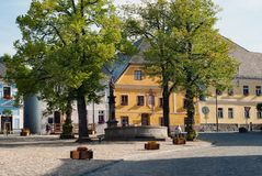 Kasperske Hory city town place square street in summer in Sumava royalty free stock photo