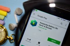 Kaspersky Battery Life: Saver & Booster dev app with magnifying on Smartphone screen. BEKASI, WEST JAVA, INDONESIA. DECEMBER 27, 2018 : Kaspersky Battery Life royalty free stock photography