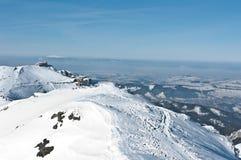 Kasprowy en panorama met Babia Gora Royalty-vrije Stock Afbeeldingen