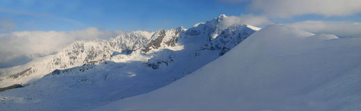 kasprowy panorama- siktswierch Arkivfoto