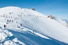 Kasprowy in the snow. Kasprowy in the snow and people Royalty Free Stock Image