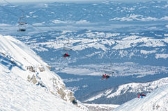 Kasprowy turn. Chair lift to Poprad in the mountains Royalty Free Stock Photo