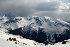 From Kasprowy Wierch. The view from Kasprowy Wierch in Poland on snowy mountain Stock Image