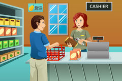 Kassörska som arbetar i livsmedelsbutiken vektor illustrationer
