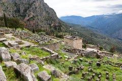 Kassa av atheniansna i den forntida staden av Delphi, Grekland, arkivfoton