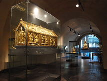 Kassa av St Servatius Basilica, Maastricht, Nederländerna Arkivfoton