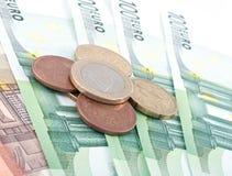 kassa coins euro royaltyfri fotografi