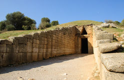 kassa för atreusgreece mycenae Arkivfoton