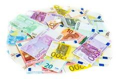 Kassa för begrepp för finans för eurosedelpengar på vit bakgrund Royaltyfri Fotografi
