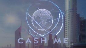 Kassa mig text med hologrammet 3d av planetjorden mot bakgrunden av den moderna metropolisen arkivfilmer