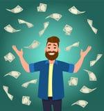 Kassa-/pengar-/valutaräkningar som faller runt om ung man vektor illustrationer