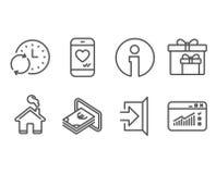 Kassa-, uppdateringtid och leveransasksymboler Gå ut, förälskelsepratstund och rengöringsduktrafiktecken royaltyfri illustrationer