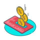 Kassan som droping tillbaka in i kreditkort royaltyfri illustrationer