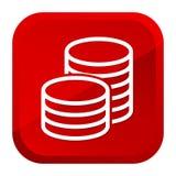 Kassapengar myntar symbolen button red Vektor Eps10 royaltyfri illustrationer