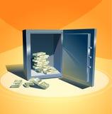 Kassaskåp med en bunt av dollar Royaltyfri Fotografi