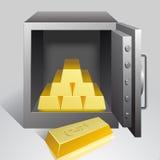 Kassaskåp med guld- Arkivfoto