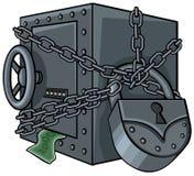 Kassaskåp med pengar Arkivbilder