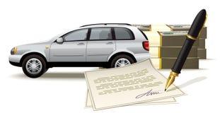 Kassaskåpköpande och sälja en bil för kassa Arkivbilder
