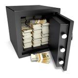 Kassaskåp och pengar Arkivbilder