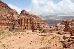 Kassatemplet och fördärvar av forntida stad av Petra, Jordanien arkivbilder