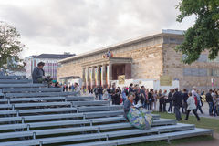 Kassel Documenta 14 art exhibition venue in city center, people near The Parthenon of Books Royalty Free Stock Image