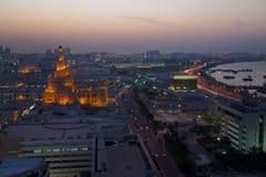 中东,卡塔尔,多哈,在黄昏的Kassem Darwish Fakhroo伊斯兰教的文化中心 免版税图库摄影