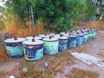 Kasserad betong fylld behållare Royaltyfri Fotografi