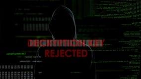 Kasserad Decryptiontangent, mislyckat försök att hacka kontot, ilsken coder lager videofilmer