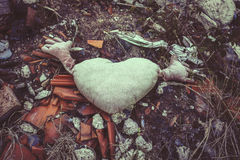 Kasserad hjärta formad dekorativ kudde Arkivbild