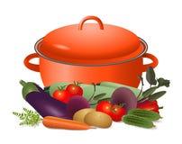 Kasserolle und reifes Gemüse Stockbild